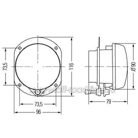 Модуль D 90мм Противотуманный свет (FF, H7) 24V, фото , изображение 2