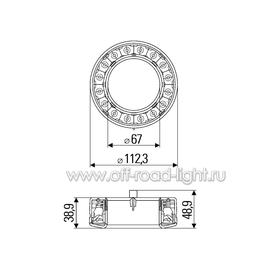 Задний габаритный огонь/стоп сигнал, прозрачное стекло LED 12V, фото , изображение 2