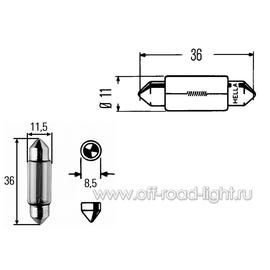C5W Лампа Hella 12V 5W (SV8.5), фото , изображение 2