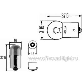 R5W Лампа Hella 12V 5W (BA15s), фото , изображение 2