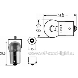 R10W Лампа Hella 24V 10W (BA15s), фото , изображение 2