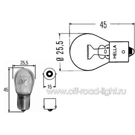 P21W Лампа Hella 24V 21W (BA15s), фото , изображение 2