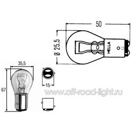 P21/5W Лампа Hella 24V 21/5W Heavy Duty (BAY15d), фото , изображение 2