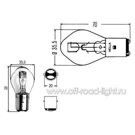 S2 Лампа Hella 24V 45/40W (BA20d), фото , изображение 2