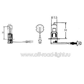 H3 Лампа 12V 55W (PK22s) (без упаковки), фото , изображение 2