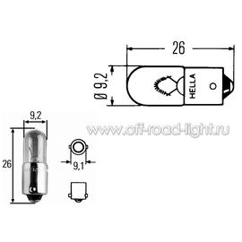 T4W Лампа 12V 4W (BA9s) (без упаковки), фото , изображение 2