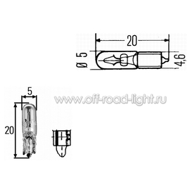 W1,2W Лампа 12V 1,2W (W2x4,6d) (без упаковки), фото , изображение 2