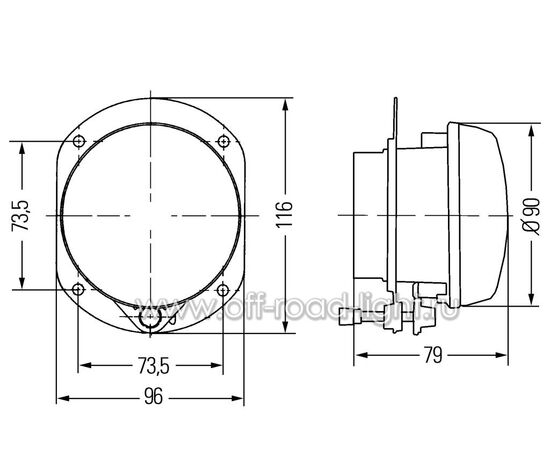 Модуль WK D90мм Противотуманный свет (FF, H7) 24V фото-3