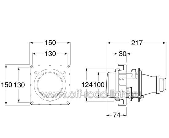 Модуль D 100мм Ближний свет (DE, H1) фото-3