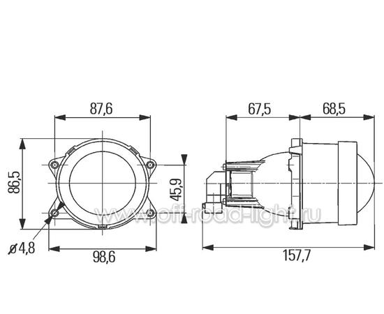 Модуль D 60мм Дальний свет (FF-DE, HB3, W3W) фото-3