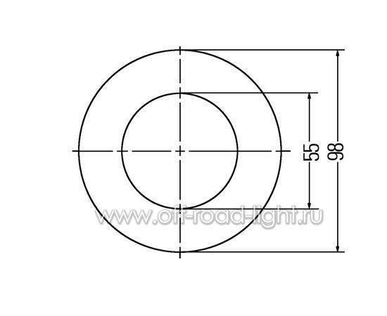 Задний габаритный огонь LED, D55мм/98мм, 1.8W 24V, фото , изображение 2
