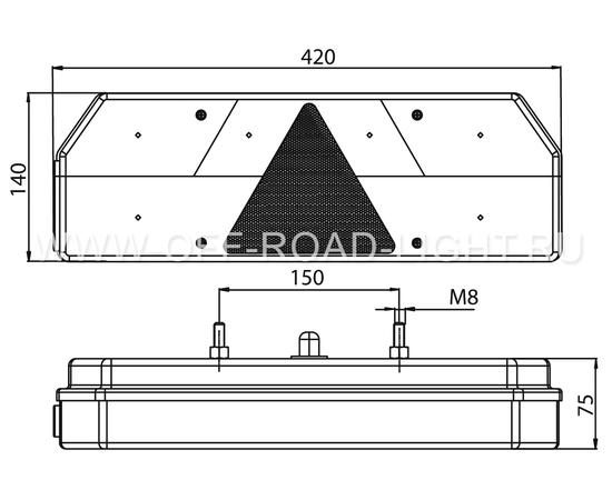 Задний комбинированный фонарь Fristom (12-36В), правый фото-4