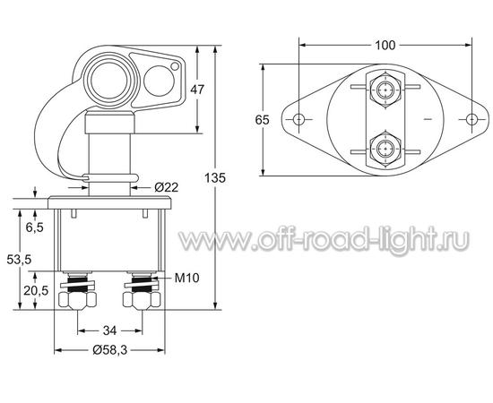 Выключатель АКБ 500A, Max:2500A, IP65, фото , изображение 2